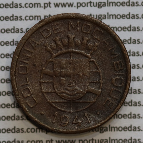 20 centavos 1941 Cobre de Moçambique, $20 Cobre 1941 Moçambique Ex-Colónia Portuguesa, (BC),  World Coins Mozambique KM71