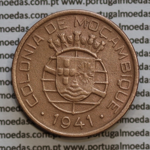 20 centavos 1941 Cobre de Moçambique, $20 Cobre 1941 Moçambique Ex-Colónia Portuguesa, (MBC-),  World Coins Mozambique KM71