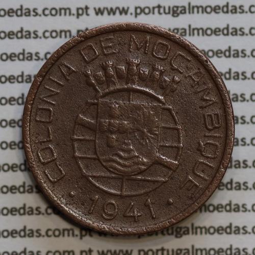 20 centavos 1941 Cobre de Moçambique, $20 Cobre 1941 Moçambique Ex-Colónia Portuguesa, (BC /MBC-),  World Coins Mozambique KM71