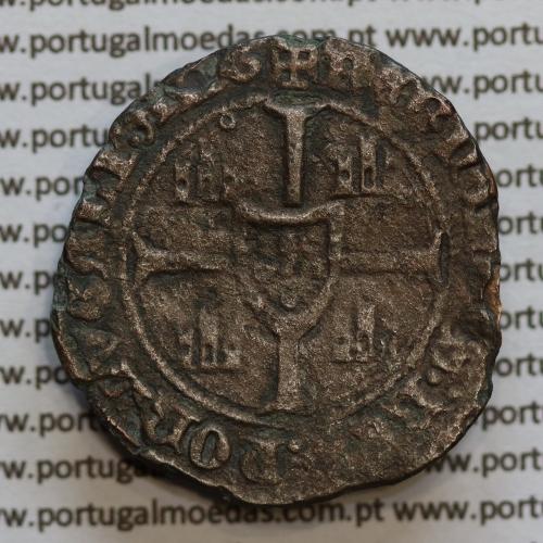 Barbuda em Bolhão D. Fernando I 1367-1383, (28 Dinheiros) Legenda: ☩SI:DNS:MICHI:AIVTOR:NON:TIME / ☩FERNANDVS:REX:PORTVGALI:ALG