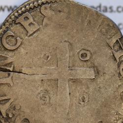 Meio Tostão prata, D. Sebastião I (1557 -1578), (não classificada A. G.) Legenda:  ✠SEBASTIANVS.T.REX.POR• / IN:HOC:SIGNO:VINCES