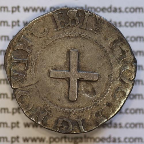 Meio Tostão prata, D. Sebastião I (1557 -1578), (A. Gomes 39.12) Legenda:  ✷SEBASTIANVS.I.REX.PORT / •IN•HOC•SIGNO•VINCES