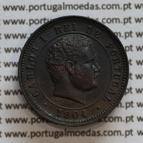 "Moeda 5 réis 1904 bronze D. Carlos I, ""cinco réis bronze 1904"" (MBC+ / BELA)  World Coins Portugal KM 530."