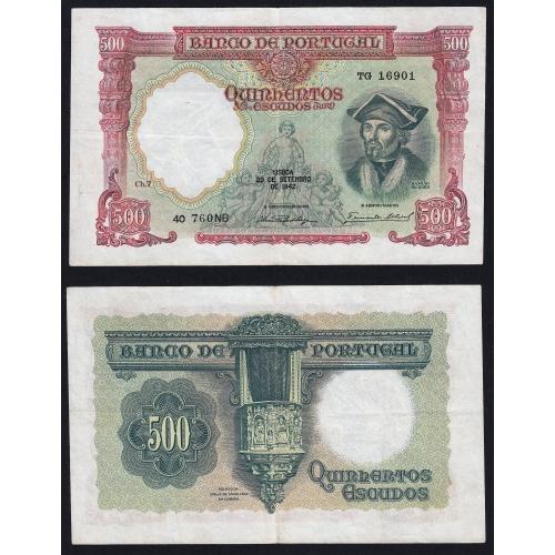 Escassa- Cor Mais Clara - Nota de 500 Escudos 1942 Damião de Góis, 500$00 29/09/1942 Chapa: 7 - Banco de Portugal (Circulada)