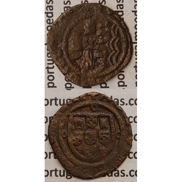 MOEDA CEITIL COBRE C\ CARIMBO DE AÇOR 1580-1583 SOBRE CEITIL D. MANUEL I