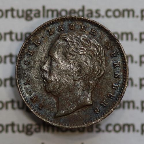 """Miniatura moeda de 500 reis de D. Luis I """"IM.L.CHR.LAUER NüRNBERG"""",  emissão  """"Casa da Moeda L. Chr. Lauer"""" ano 1888"""
