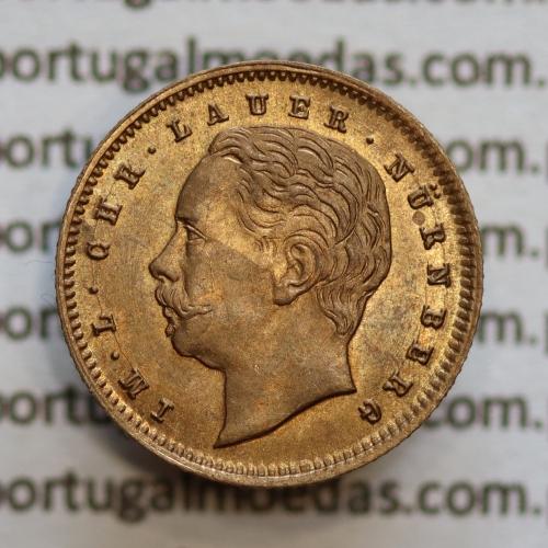 """Miniatura moeda de 2000 reis de D. Luis I """"IM.L.CHR.LAUER NüRNBERG"""",  emissão  """"Casa da Moeda L. Chr. Lauer"""" ano 1888"""