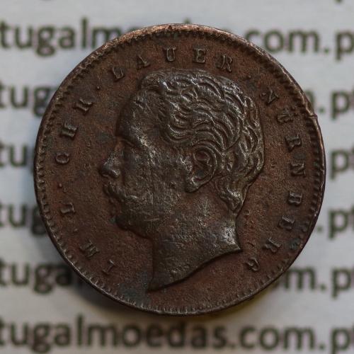 "Miniatura moeda de X reis 1887 de D. Luis I ""IM.L.CHR.LAUER NüRNBERG"",  emissão  ""Casa da Moeda L. Chr. Lauer"" ano 1888"