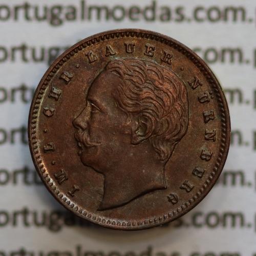 """Miniatura moeda de V reis 1887 de D. Luis I """"IM.L.CHR.LAUER NüRNBERG"""",  emissão  """"Casa da Moeda L. Chr. Lauer"""" ano 1888"""
