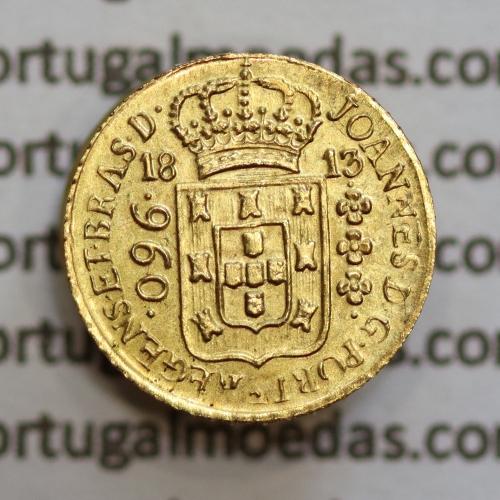 Miniatura moeda em ouro de 960 reis 1813 de D. João Príncipe Regente, (Replica miniatura de patacão ou 960 réis 1913 Brasil)