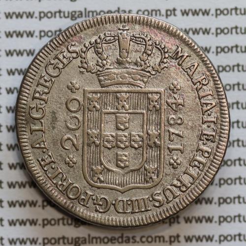 12 vinténs prata 1784 D. Maria I e D. Pedro III, 240 Réis, Coroa baixa diadema losango 1 ponto e cruz simples, World Coins KM272