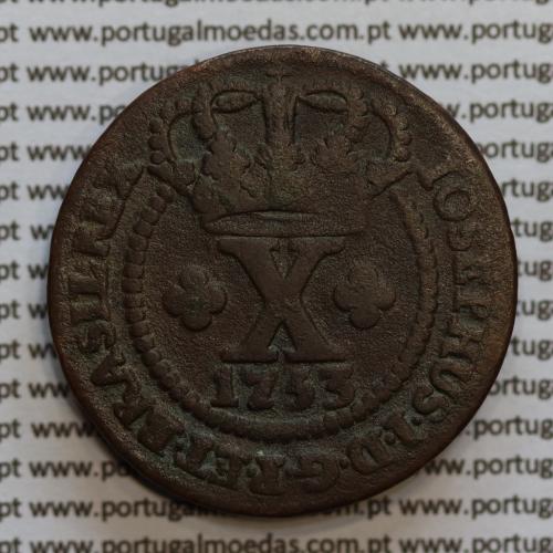 Moeda X Réis Cobre 1753 IOSEPHUS (46 pérolas) D. José I,Brasil, World Coins Brasil  KM 174.1