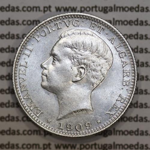 Moeda 200 réis 1909 prata D. Manuel II, dois tostões prata 1909, World Coins Portugal KM549. (Bela / Soberba)