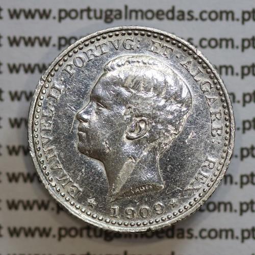 Moeda 100 réis 1909 prata D. Manuel II, tostão prata 1909, World Coins Portugal KM548. (MBC)