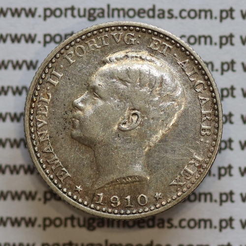 Moeda 100 réis 1910 prata D. Manuel II, tostão prata 1910, World Coins Portugal KM548. (MBC)