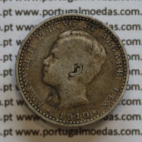 Moeda 100 réis 1910 prata D. Manuel II, tostão prata 1910, World Coins Portugal KM548. (BC)
