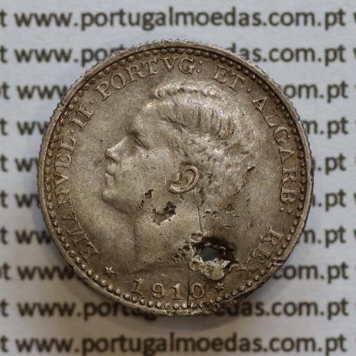 Moeda 100 réis 1910 prata D. Manuel II, tostão prata 1910, World Coins Portugal KM548. (REG)
