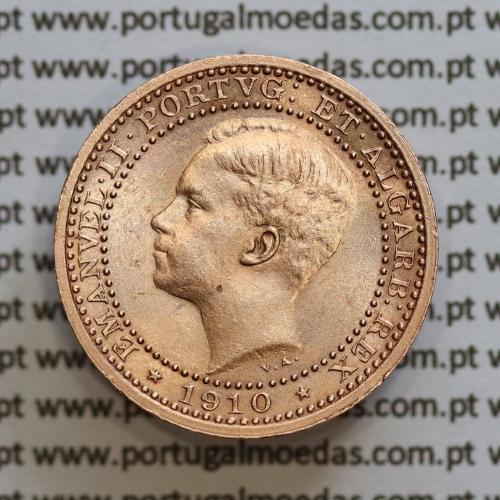 Moeda 5 réis 1910 bronze D. Manuel II, World Coins Portugal KM555. (Soberba)