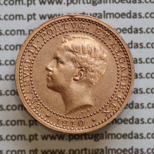 Moeda 5 réis 1910 bronze D. Manuel II, World Coins Portugal KM555. (MBC+)