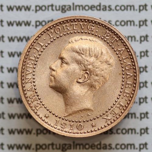 Moeda 5 réis 1910 bronze D. Manuel II, World Coins Portugal KM555. (Bela)
