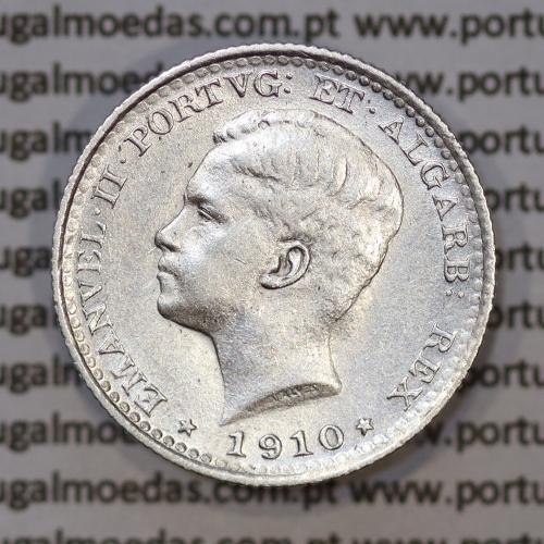 Moeda 100 réis 1910 prata D. Manuel II, tostão prata 1910, World Coins Portugal KM548. (MBC+/BELA)