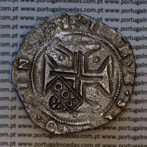 """Carimbo de 500 Réis de D. Afonso VI, sobre Cruzado Prata de D. João IV, carimbo """"S00"""",  World Coins Portugal KM 437.1"""
