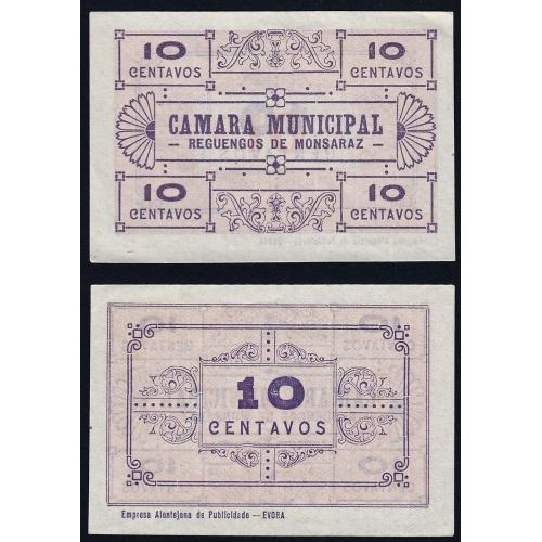 CÉDULA CÂMARA MUNICIPAL DE REGUENGOS DE MONSARAZ - VALE 10 CENTAVOS (NÃO CIRCULADA)