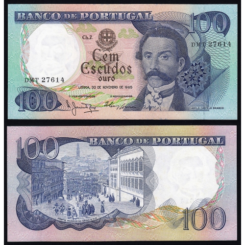 Nota de 100 Escudos 1965 Camilo Castelo Branco, 100$00 30/11/1965 Chapa: 7 - Banco de Portugal (Não Circulada)
