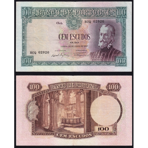 Capicua - Nota de 100 Escudos 1957 Pedro Nunes, 100$00 25/06/1957 Chapa: 6 - Banco de Portugal (Circulada)