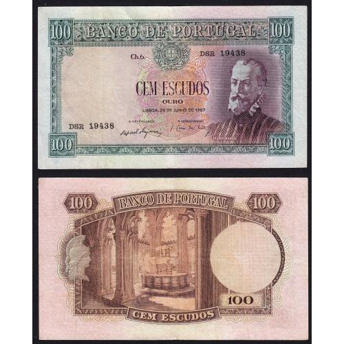 Nota de 100 Escudos 1957 Pedro Nunes, 100$00 25/06/1957 Chapa: 6 - Banco de Portugal (Circulada)