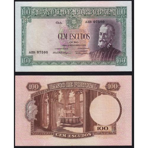 Nota de 100 Escudos 1950 Pedro Nunes, 100$00 24/10/1950 Chapa: 6 - Banco de Portugal (Pouco Circulada)