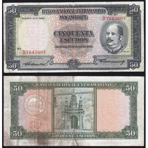 Nota Cinquenta Escudos 1958 Eduardo Costa, 50 Escudos 24/07/1958 - Moçambique Pick 106 (Circulada)