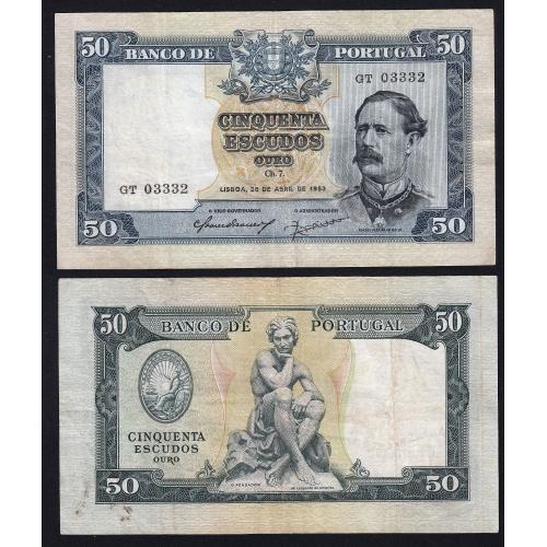 """Nota de 50 Escudos 1953 ( Circulada ) """"50$00 1953 Ch.7 Fontes Pereira de Mello- Banco de Portugal (28/04/1953)"""