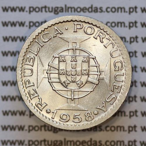 "60 centavos alpaca 1958 India, ""$60 alpaca 1958"" (Soberba), Variante Rebordo Largo - World Coins India Portuguese KM 32"