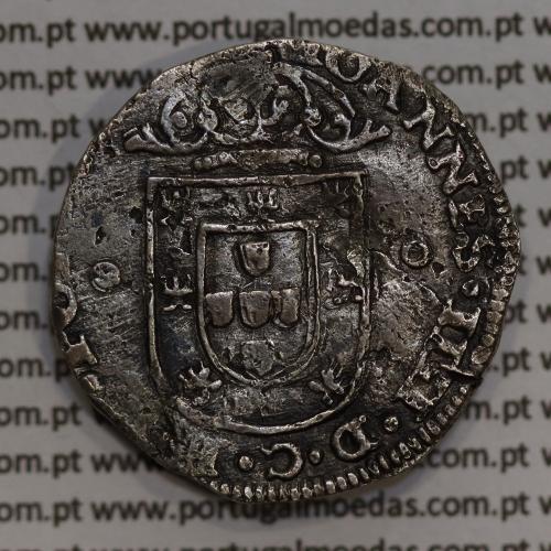 Tostão Prata de D. João IV 1640-1656, Porto, Legenda: ✤IOANNES•IIII•D•G•REX•PORTVGALI / ✤IN•HOC•SIGNO•VINCES, World Coins KM 44