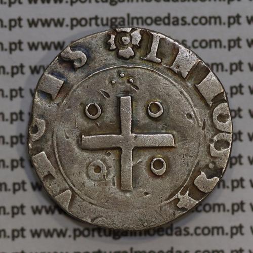 Moeda Meio Tostão prata D. Sebastião I (1557 -1578), :SEBASTIANVS:I:REX:POR / ꕥIN HOC:SIGNO:VNCES, não classificada A. Gomes