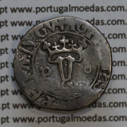 Vintém Prata de D. João II 1481-1495, Porto, A. Gomes 20.08, legenda: ✚IOHANES:II:R:P:ET:A:D:GV: / ✚IOANES:I•I:R:P:ET:A:D:GINE:
