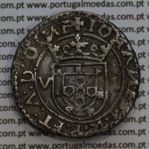 Moeda Tostão Prata D. João III 1521-1557, (Lisboa) 100 Reais Prata, Legenda: ✚IOHANES:3:R:P:ET:A:D:GINE / ✶IN✶HOC✶SIGNO✶VINCES
