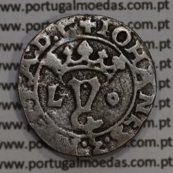 Vintém prata de D. João III 1521-1557, Variante A. Gomes 31.01 Legenda: ✚IOHANES:3:R:P:ET:A:D:G  / IOHANES:3:R:P:ET:A˙D˙G˙