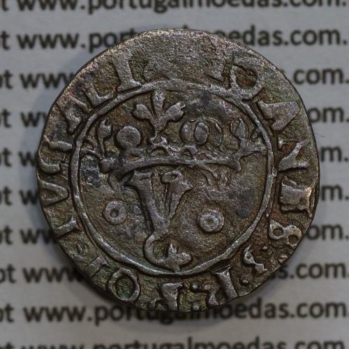 Vintém prata de D. João III 1521-1557, Não catalogada, Legenda: ✖IOANES:3:R:PORTGALI  / ☩IOANES:3:R:PORTVGAL: