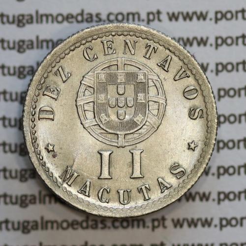 """Angola 2 Macutas 1928 em alpaca, """"10 centavos 1928 Angola"""" (Soberba) - Ex- Colónia Angola - World Coins Angola KM 67"""