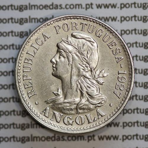 "Angola 4 Macutas 1927 em alpaca, ""20 centavos 1927 Angola"" (MBC+/Bela) - Ex- Colónia Angola - World Coins Angola KM 68"
