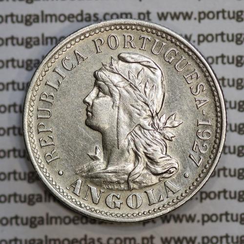 """Angola 4 Macutas 1927 em alpaca, """"20 centavos 1927 Angola"""" (Bela) - Ex- Colónia Angola - World Coins Angola KM 68"""