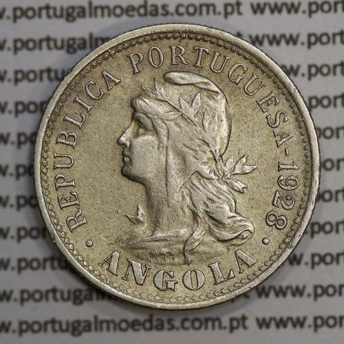 "Angola 4 Macutas 1928 em alpaca, ""20 centavos 1928 Angola"" (MBC+) - Ex- Colónia Angola - World Coins Angola KM 68"