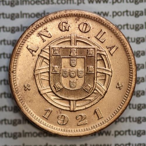 """Angola 5 Centavos 1921 Bronze, (""""$05"""" cinco centavos 1921 Angola), (BELA-), Ex-Colónia Portuguesa - World Coins Angola KM 62"""
