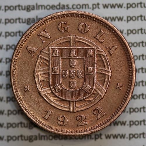 """Angola 5 Centavos 1922 Bronze, (""""$05"""" cinco centavos 1922 Angola), (BELA), Ex-Colónia Portuguesa - World Coins Angola KM 62"""