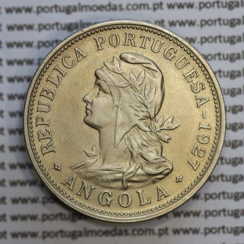 """Angola 50 centavos 1927 em alpaca, (""""$50"""" centavos 1927 Angola), (MBC+/Bela) - Ex- Colónia Angola - World Coins Angola KM 69"""
