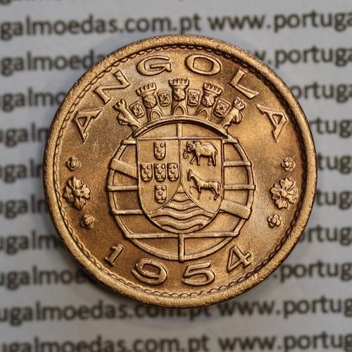 "Angola 50 Centavos 1954 Bronze, (""$50"" cinquenta centavos 1954 Angola), (Soberba), Ex-Colónia Angola, World Coins Angola KM 75"