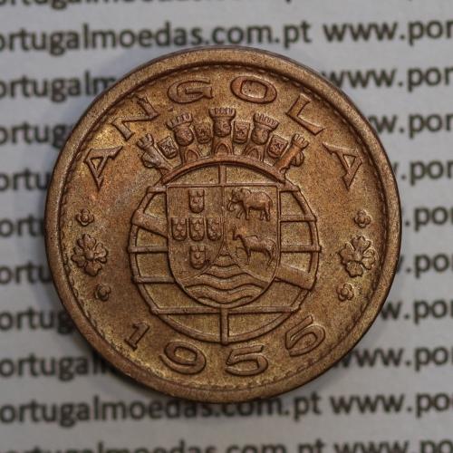 """Angola 50 Centavos 1955 Bronze, (""""$50"""" cinquenta centavos 1955 Angola), (Bela), Ex-Colónia Angola, World Coins Angola KM 75"""