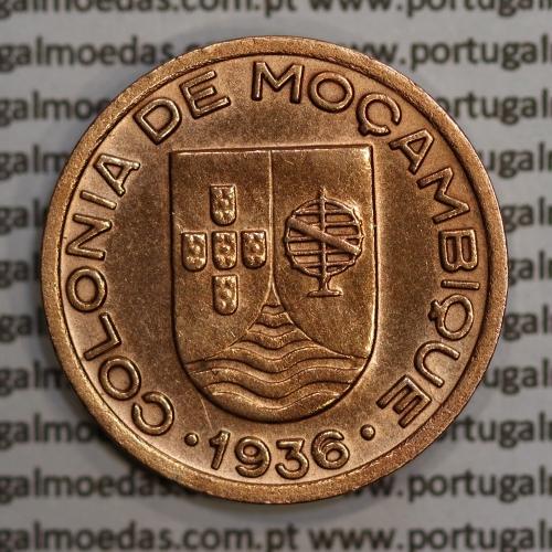 """Moçambique,10 centavos 1936 Cobre, (""""$10"""" centavos cobre 1936), (MBC+/Bela) Ex-Colónia Moçambique, World Coins Mozambique KM63"""